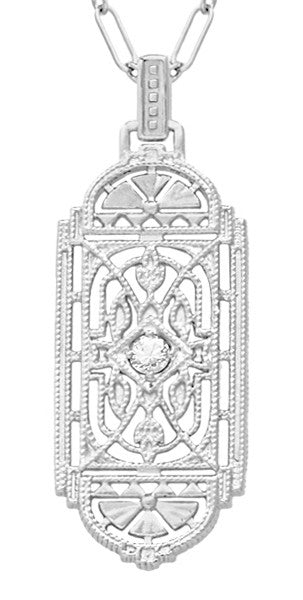 1920's Art Deco Filigree White Sapphire Geometric Pendant Necklace in Sterling Silver