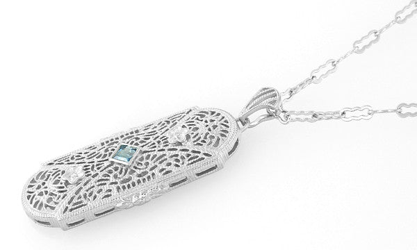 Art Deco Floral Filigree Aquamarine Pendant Necklace in Sterling Silver - Item: N151A - Image: 1
