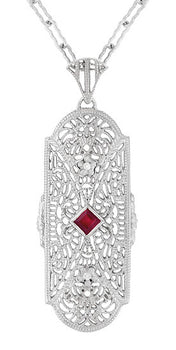 Art Deco Flowers Filigree Ruby Pendant Necklace in Sterling Silver