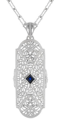 Art Deco Sapphire and Diamonds Floral Filigree Pendant Necklace in Sterling Silver