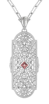 Art Deco Pink Tourmaline and Diamonds Floral Filigree Pendant Necklace in Sterling Silver