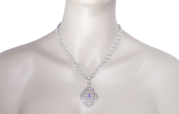 Edwardian Filigree Drop Pendant Necklace with Amethyst and Diamond in Sterling Silver - Item: N152AM - Image: 4