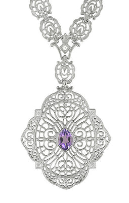 Edwardian Filigree Drop Pendant Necklace with Amethyst and Diamond in Sterling Silver