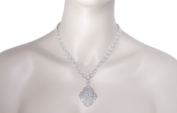 Edwardian Filigree Drop Pendant Necklace with Blue Topaz and Diamond in Sterling Silver - Item: N152BT - Image: 3