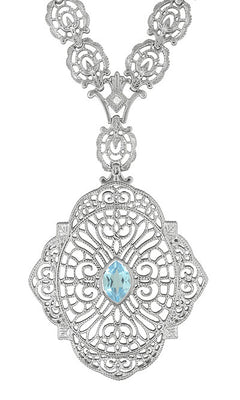 Edwardian Filigree Drop Pendant Necklace with Blue Topaz and Diamond in Sterling Silver