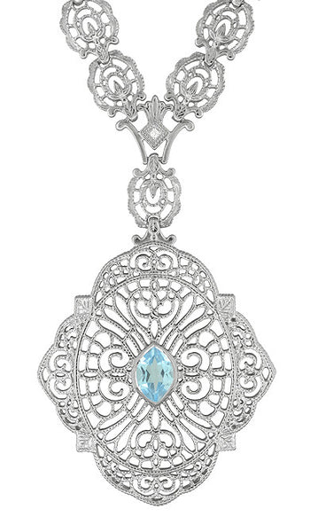 Blue Topaz Amp Diamond Antique Edwardian Filigree Drop
