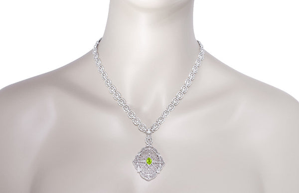 Edwardian Filigree Drop Pendant Necklace with Peridot and Diamond in Sterling Silver - Item: N152PER - Image: 3