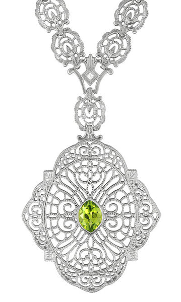 Edwardian Filigree Drop Pendant Necklace with Peridot and Diamond in Sterling Silver