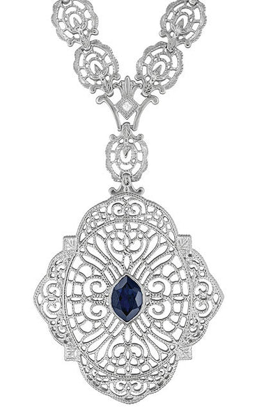 Edwardian Filigree Sapphire and Diamond Drop Pendant Necklace in Sterling Silver