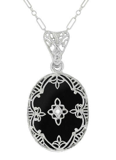 Art deco flowers oval black onyx and diamond filigree pendant art deco flowers oval black onyx and diamond filigree pendant necklace in sterling silver aloadofball Choice Image