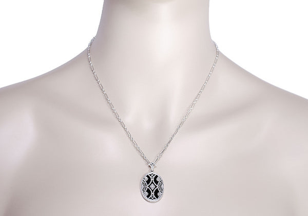 Art Deco Filigree Flowers and Scrolls Black Onyx and Diamond Vintage Filigree Pendant in Sterling Silver - Item: N155 - Image: 3