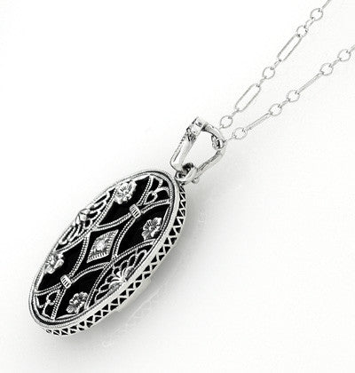 Art Deco Filigree Flowers and Scrolls Black Onyx and Diamond Vintage Filigree Pendant in Sterling Silver - Item: N155 - Image: 1
