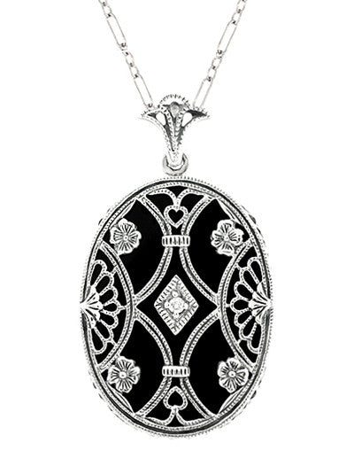 Art Deco Filigree Flowers and Scrolls Black Onyx and Diamond Vintage Filigree Pendant in Sterling Silver