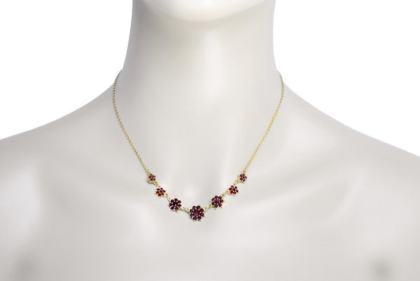 Victorian Bohemian Garnet Flowers Crescent Necklace in Sterling Silver with Yellow Gold Vermeil - Item: N156 - Image: 2