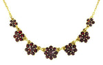 Victorian Bohemian Garnet Flowers Crescent Necklace in Sterling Silver with Yellow Gold Vermeil