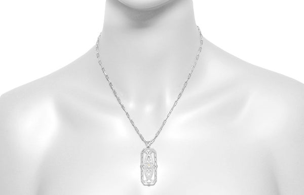 Art Deco Filigree Ichthus Fish Diamond Necklace in Sterling Silver - Vintage 1930's Design - Item: N161WD - Image: 3