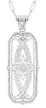 Art Deco Filigree Ichthus Fish Diamond Necklace in Sterling Silver - Vintage 1930's Design