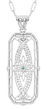 Vintage 1930's Style Ichthys Filigree Emerald Pendant Necklace in Sterling Silver