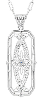 Art Deco Filigree Vintage Sapphire Ichthys Fish Necklace - Sterling Silver 1930's Pendant Design