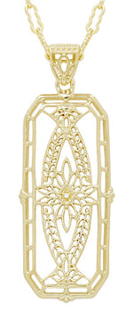 1930's Art Deco Filigree Ichthus Diamond Pendant in Yellow Gold Vermeil Over Sterling Silver