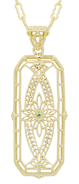 Vintage Style 1930's Deco Filigree Emerald Ichthus Pendant Necklace in Yellow Gold Vermeil Over Sterling Silver