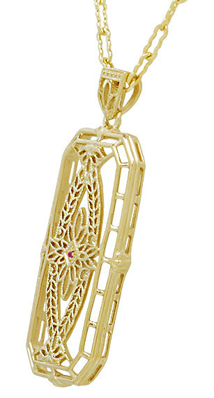 Art Deco Antique Inspired Filigree Ichthys Ruby Pendant Necklace in Yellow Gold Over Sterling Silver - Item: N161YR - Image: 1