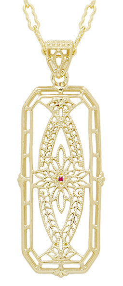 Art Deco Antique Inspired Filigree Ichthys Ruby Pendant Necklace in Yellow Gold Over Sterling Silver