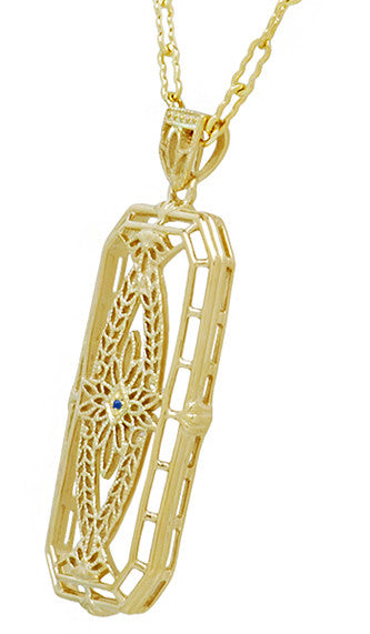 1930's Vintage Inspired Filigree Sapphire Ichthus Pendant in Yellow Gold Vermeil Over Sterling Silver - Item: N161YS - Image: 1