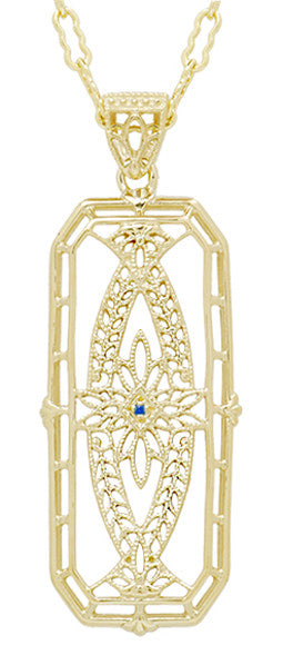 1930's Vintage Inspired Filigree Sapphire Ichthus Pendant in Yellow Gold Vermeil Over Sterling Silver