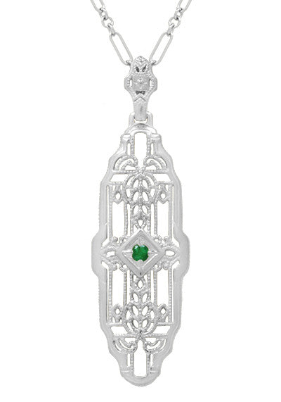 Art Deco Geometric Lozenge Filigree Emerald Pendant in Sterling Silver