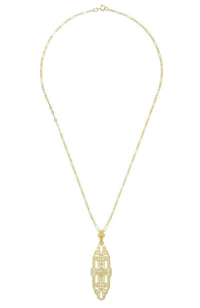 Vintage Inspired Art Deco Diamond Necklace in Yellow Gold Vermeil Over Sterling Silver - 1920's Replica Lozenge Pendant - Item: N165YD - Image: 2