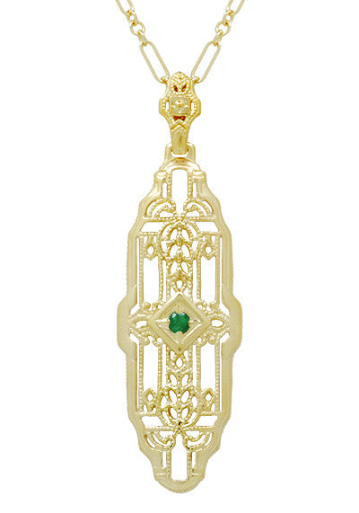 Art Deco Filigree Emerald Lozenge Pendant Necklace in Sterling Silver with Yellow Gold Vermeil