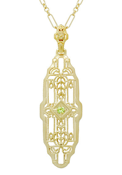 Art Deco Filigree Vintage Inspired Peridot Lozenge Pendant Necklace in Yellow Gold Over Sterling Silver