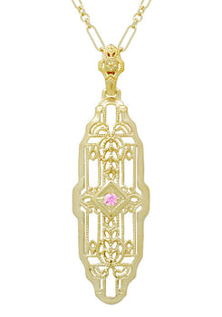 Filigree Lozenge Shape 1920's Art Deco Pink Sapphire Necklace in Sterling Silver with Yellow Gold Vermeil