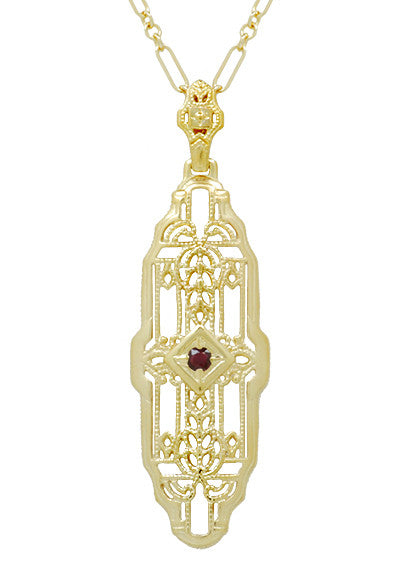 Vintage Inspired Lozenge Shape Art Deco Ruby Pendant - Yellow Gold Over Sterling Silver