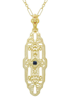 1920's Art Deco Filigree Lozenge Shape Blue Sapphire Pendant Necklace in Sterling Silver with Yellow Gold Vermeil