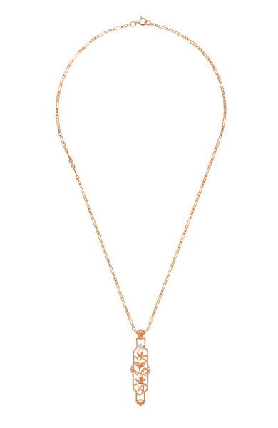 Art Nouveau Trailing Lilies Filigree Pendant Necklace in Sterling Silver with Rose Gold Vermeil - Item: N166R - Image: 2