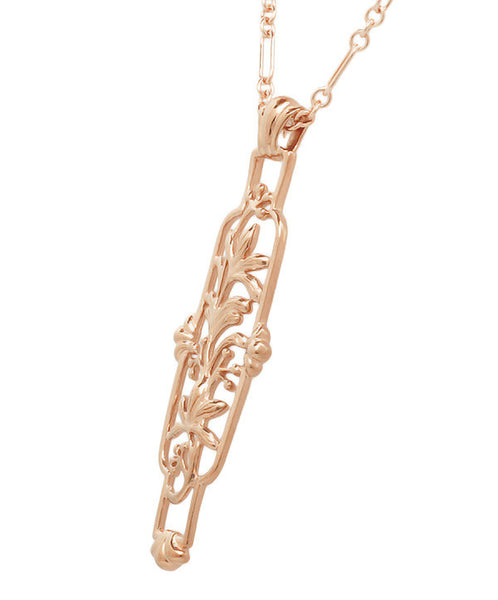 Art Nouveau Trailing Lilies Filigree Pendant Necklace in Sterling Silver with Rose Gold Vermeil - Item: N166R - Image: 1