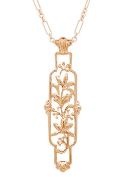 Art Nouveau Trailing Lilies Filigree Pendant Necklace in Sterling Silver with Rose Gold Vermeil