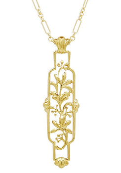 Art Nouveau Cartouche Filigree Lilies Pendant Necklace in Yellow Gold Vermeil over Sterling Silver
