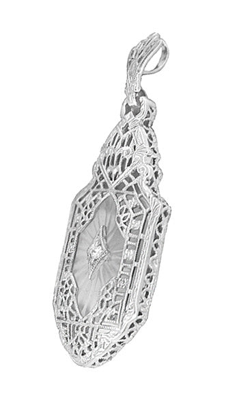 Art Deco Lavalier Filigree Starburst Crystal & Diamond Pendant Necklace in Sterling Silver - Item: N168 - Image: 1