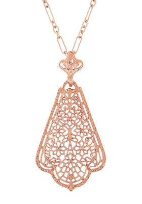 Edwardian Rose Gold Vermeil Scalloped Leaf Dangling Filigree Pendant Necklace