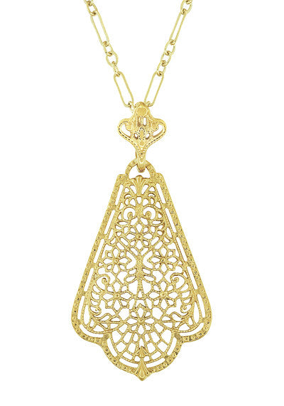 Edwardian Scalloped Leaf Dangling Filigree Pendant