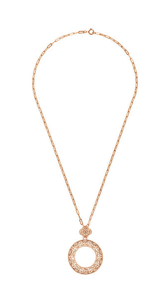 Art Deco Eternal Circle of Love Filigree Pendant Necklace in Sterling Silver with Rose Gold Vermeil - Item: N170R - Image: 2