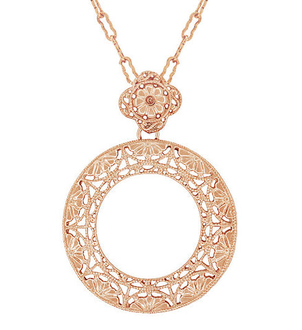 Vintage rose gold necklaces antique rose gold necklaces pendants art deco eternal circle of love filigree pendant necklace in sterling silver with rose gold vermeil aloadofball Image collections