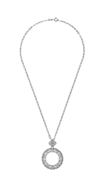 Art Deco Eternal Circle of Love Filigree Pendant Necklace in Sterling Silver - Item: N170W - Image: 2