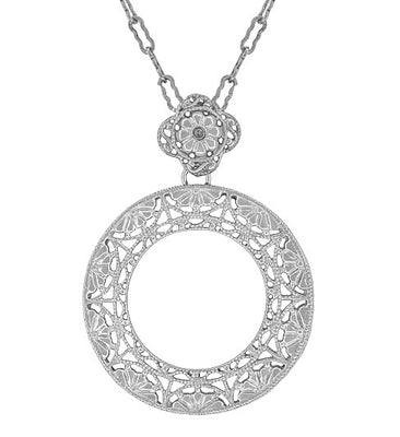 Art Deco Eternal Circle of Love Filigree Pendant Necklace in Sterling Silver