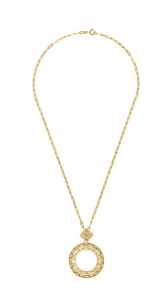 Art Deco Eternal Circle of Love Filigree Pendant Necklace in Sterling Silver with Yellow Gold Vermeil - Item: N170Y - Image: 2