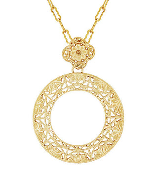 Art Deco Eternal Circle of Love Filigree Pendant Necklace in Sterling Silver with Yellow Gold Vermeil