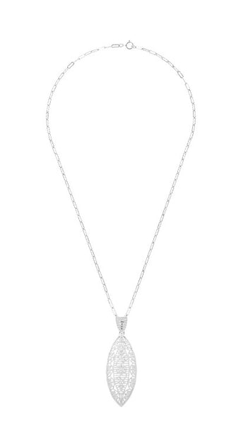 Art Deco Dangling Leaf Diamond Filigree Necklace in Sterling Silver - Item: N171WD - Image: 2